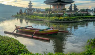 Beautiful Bali Pagoda beside Lake